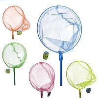 Сачок для бабочек M 0078 U/R (100шт) длина124см, длина ручки 100см, диаметр 24см, бамбук, 5цвета,