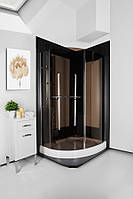 Душова кабіна асиметрична Italian Style PARADISO коричнева 1200х900х1850 🇮🇹
