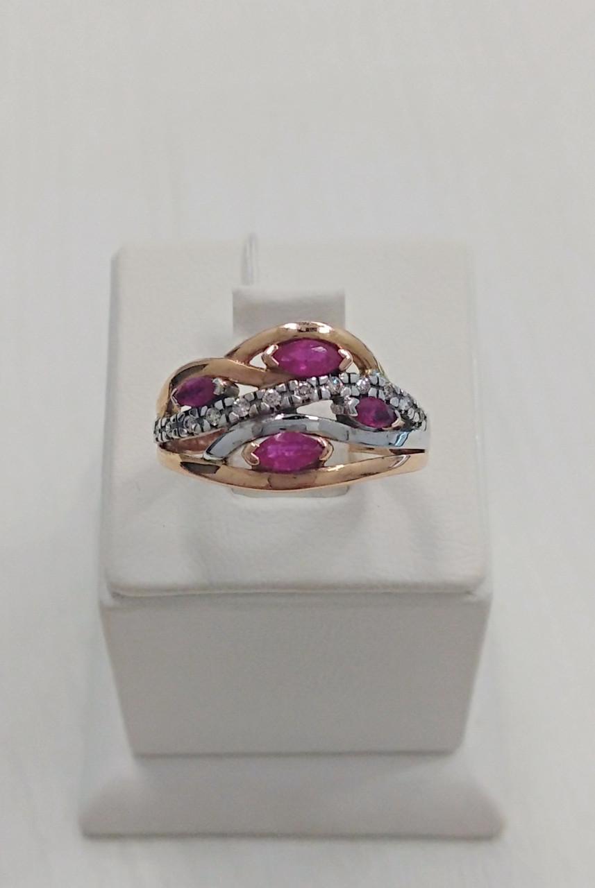 Кольцо золотое с рубином и бриллиантами
