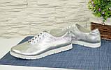 Женские туфли на утолщенной белой подошве, на шнуровке, натуральная кожа серебрянного цвета, фото 4