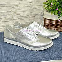 Женские туфли на утолщенной белой подошве, на шнуровке, натуральная кожа серебрянного цвета, фото 1