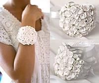 """""""Белые розы"""" браслет на руку с цветами для невесты или свидетельницы"""