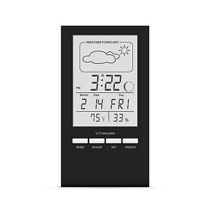Термометр гигрометр комнатный цифровой электронный термогигрометр бытовой Т-14 черный с часами