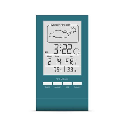 Термометр гигрометр комнатный цифровой электронный термогигрометр бытовой Т-14 черный с часами, фото 2