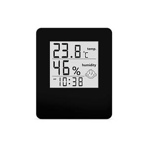 Термометр гигрометр комнатный электронный цифровой термогигрометр с часами Т-17 черный на батарейках