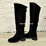 Ботфорты замшевые женские зимние на каблуке, декорированы стразами., фото 4