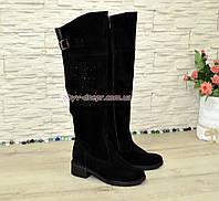 Ботфорты замшевые женские зимние на каблуке, декорированы стразами., фото 1