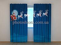 """Фотошторы """"Дед Мороз"""" 250 х 260 см новогодние фото штори с рисунком шторы в детскую"""
