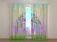 """Фотошторы """"Розовый замок"""" 250 х 260 см фото штори с рисунком шторы в детскую"""