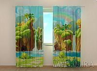 """Фотошторы """"Водопад и радуга"""" 250 х 260 см фото штори с рисунком шторы в детскую"""