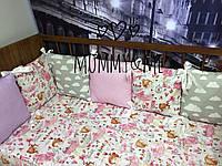 Комплект бортики - защита в кроватку на четыре стороны кроватки балерины
