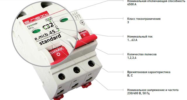 Модульные автоматические выключатели серии E.STAND 4,5 кА (Енекст)