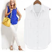 Блузка- рубашка без рукавов. Синяя и белая