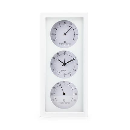 Термогигрометр с часами термометр гигрометр комнатный бытовой стрелочный настенный часы + батарейка, фото 2