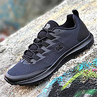 Мужские кроссовки сетка черные на весну лето, подошва из пенки не проваливается, легкие и удобные  (Код: 1363)