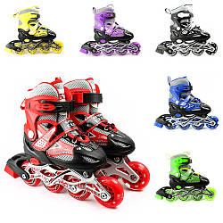 Ролики BC-RS-0002 (6шт) розмір M (35-38) PU колеса, 4 шт. світяться, 6 кольорів, сумка