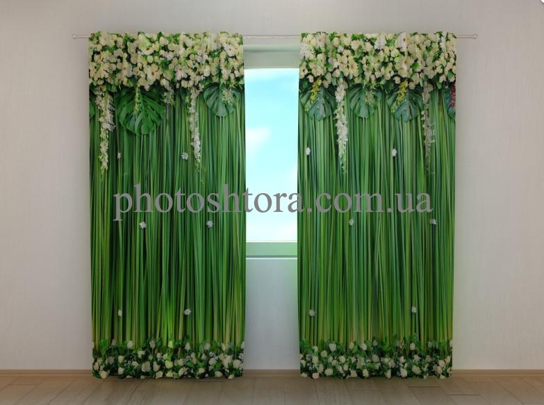 """Фотошторы """"Ламбрекены из цветов. Белоснежные цветы"""" 250 х 260 см цветы фото штори шторы с рисунком"""
