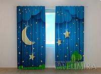 """Фотошторы """"Месяц и звезды"""" 250 х 260 см фото штори с рисунком шторы в детскую"""