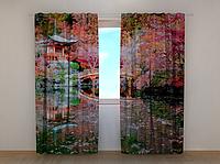 """Фотошторы """"Китайский домик"""" 250 х 260 см природа фото штори шторы с рисунком"""