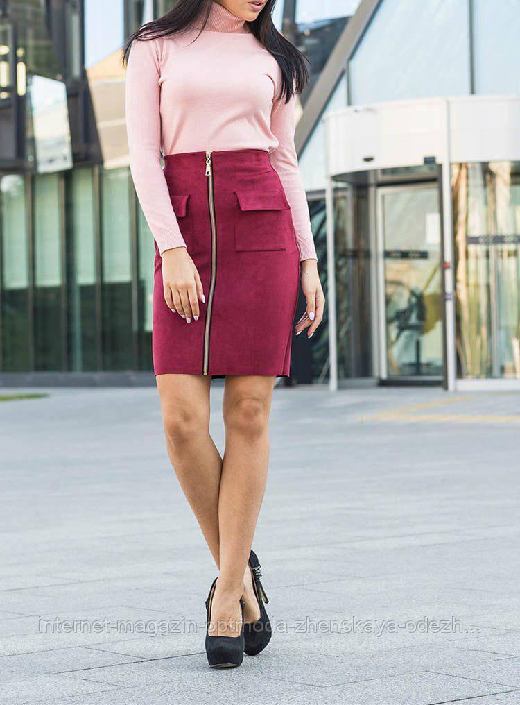 Стильная прямая юбка из экозамши