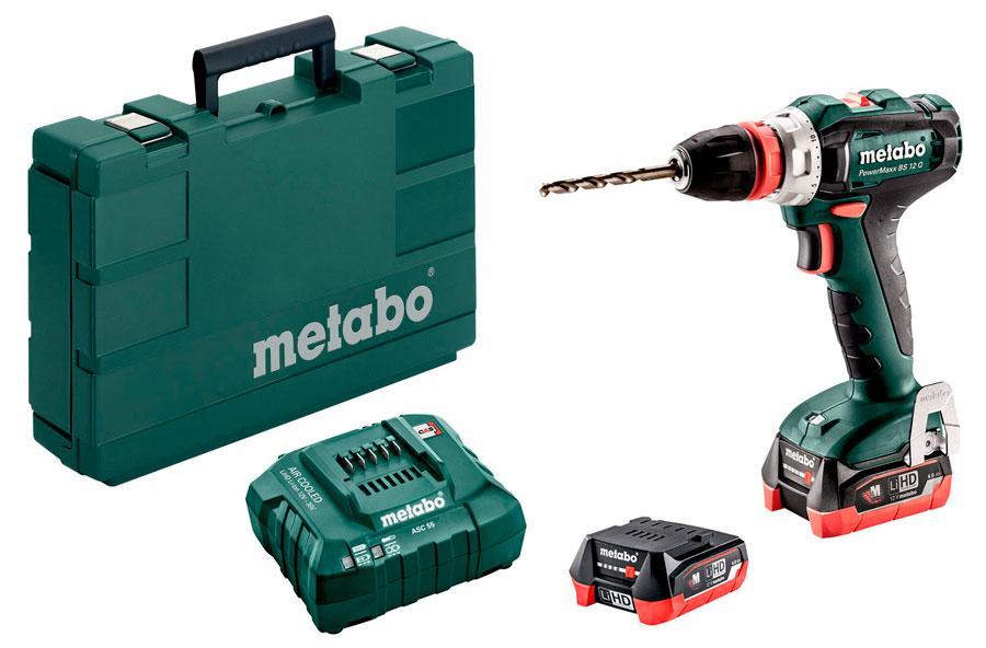 Аккумуляторный шуруповерт Metabo PowerMaxx BS 12 Q LiHD + 2 акб 12 V 4 Ah + з/у + кейс (601037800)