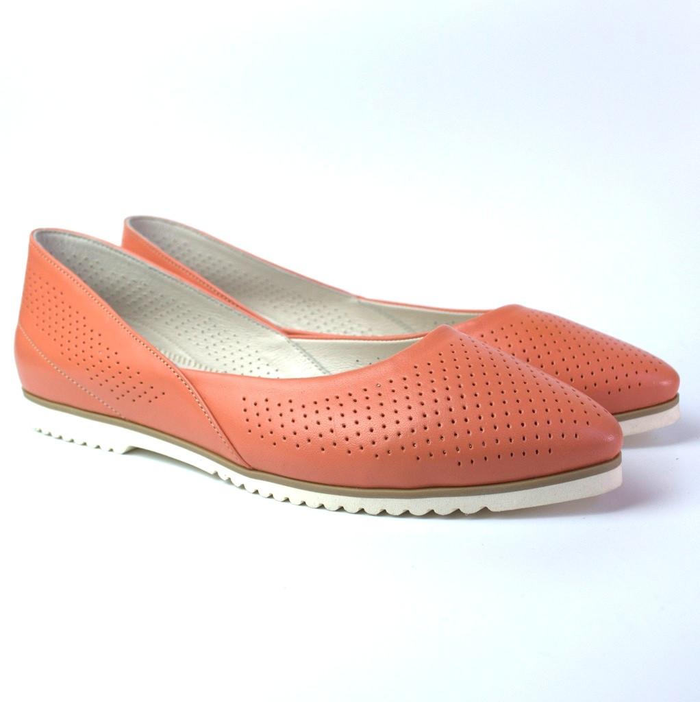 Балетки женская обувь больших размеров Gracia Peach Perf by Rosso Avangard BS кожа персиковые лето