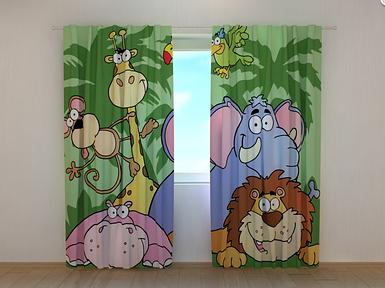 """Фотошторы """"Зоопарк"""" 250 х 260 см животные фото штори с рисунком шторы в детскую"""