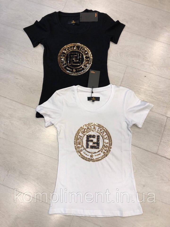 Трикотажна жіноча турецька футболка з камінням FL 1017