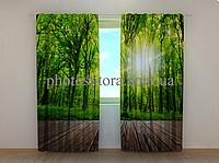 "Фотошторы ""Лес у порога"" 250 х 260 см природа фото штори шторы с рисунком"