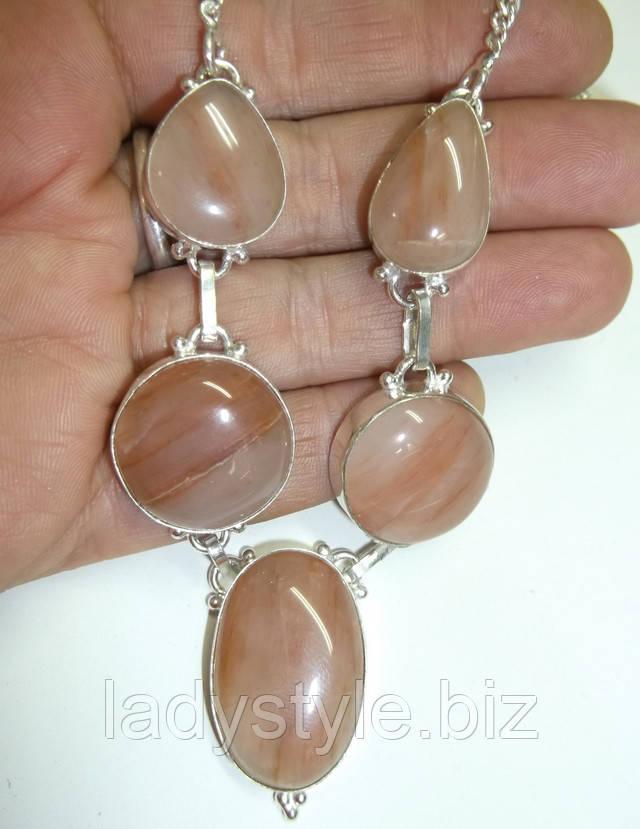 серебряное колье ожерелье купить натуральный халцедон