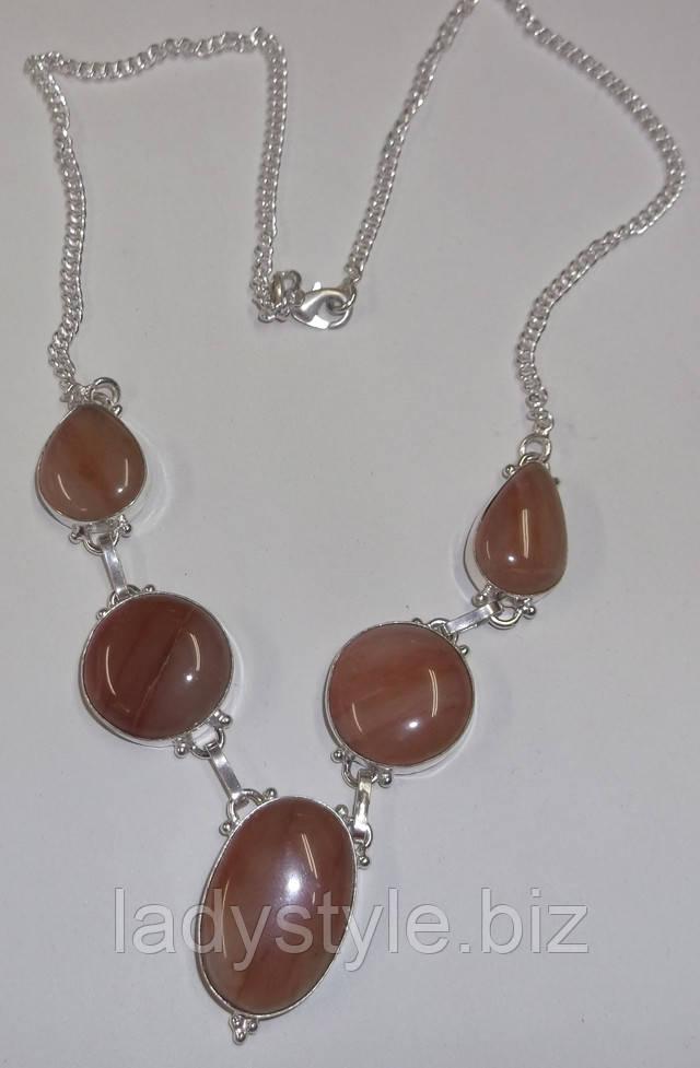 купить серебряное колье ожерелье украшения халцедон