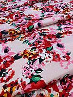 Лён розовый с принтом цветы