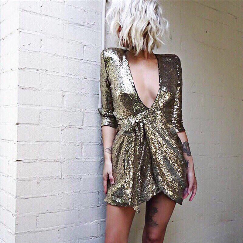 NEW 🔥🔥🔥🔥 Платья женские с глубоким вырезом декольте в золотом и чёрном цвете 😍 Размеры: С(42-44),М(44-46)