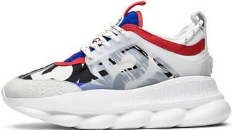 "Женские кроссовки Versace Chain Reaction Sneakers Multicolored ""Blue/Red"" (в стиле Версаче)"