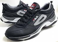 Мужские кожаные стильные  кроссовки Fila black