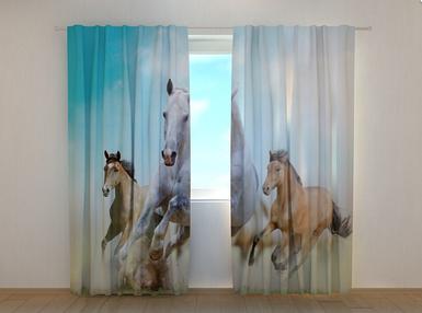 "Фотошторы ""Лошади"" 250 х 260 см природа фото штори шторы с рисунком"