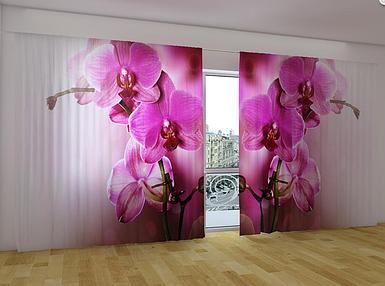 """Панорамные Фотошторы """"Пурпурная орхидея 2"""" 270 х 500 см фото шторы панорамні штори"""