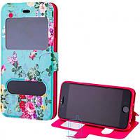 Чехол-книжка Flower Case 2 окна Apple iPhone 6 Tea-rose turquoise