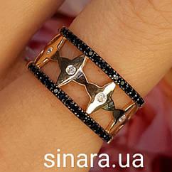 Золотое кольцо LV с черными фианитами