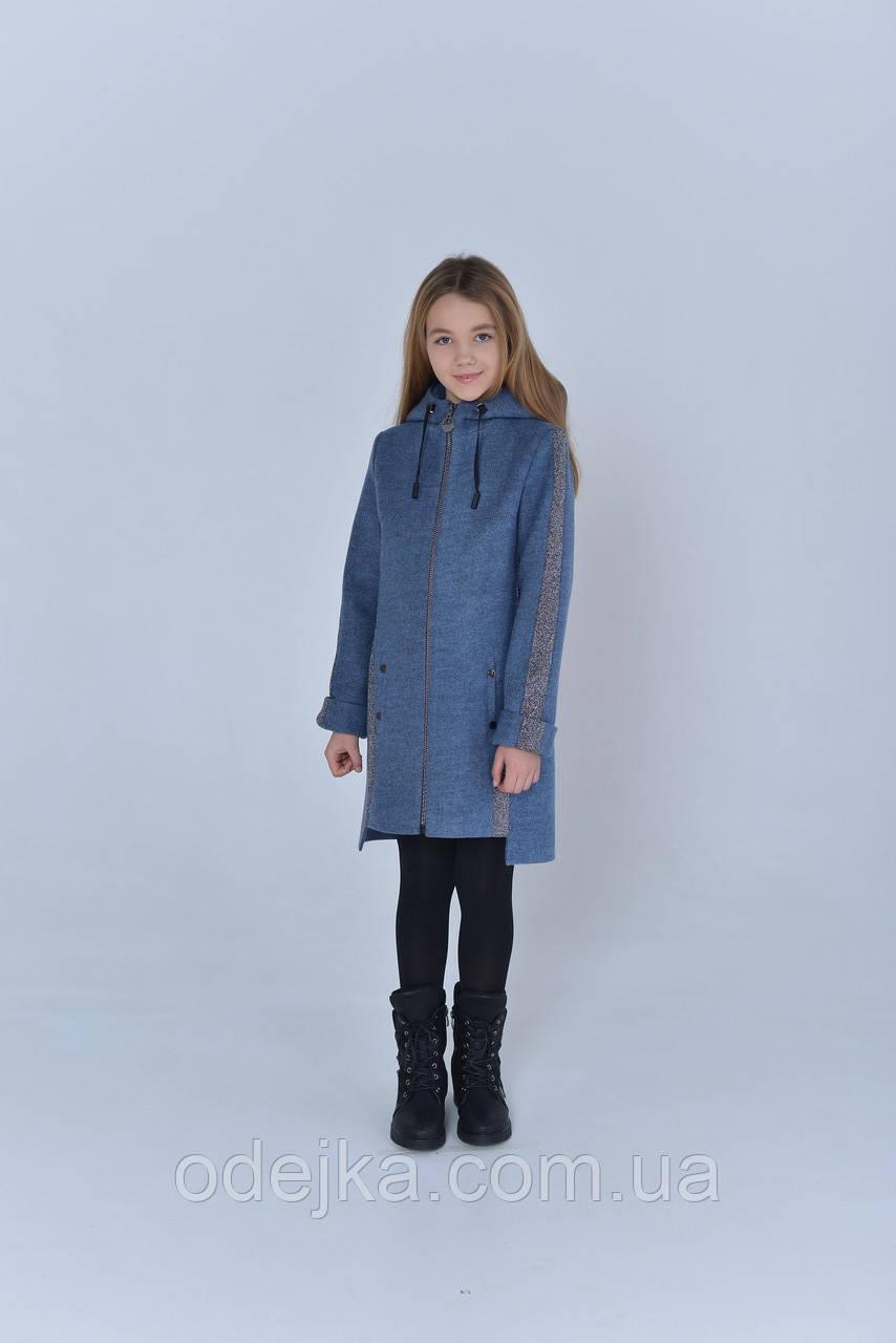Пальто  детское   Татьяна Филатова  модель 223  синее  лампас серебро