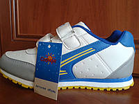 Кроссовки белые с голубой вставкой, р. 34-35.