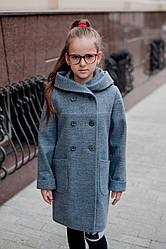 Пальто  детское  Татьяна Филатова  модель 169 серо-голубое