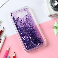 Чехол Glitter для Samsung Galaxy A5 2016 / A510 Бампер Жидкий блеск фиолетовый