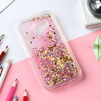 Чехол Glitter Жидкий блеск для Samsung Galaxy A5 2016 / A510 звезды розовый