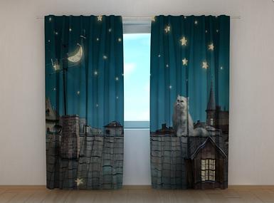 """Фотошторы """"Кот на крыше"""" 250 х 260 см фото штори шторы с рисунком"""