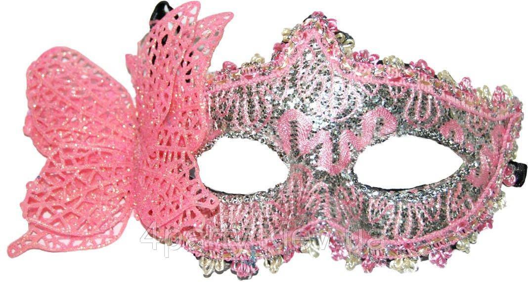 Маска венецианская бабочка (розовая) 240216-188