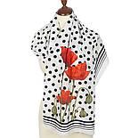 Огненный цветок 10051-0, павлопосадский шарф шелковый крепдешиновый с подрубкой, фото 2