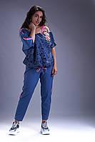 Красивый комбинированный с гипюром летний брючный женский костюм с лампасами.2 цвета.Размеры:50,52,54,56,58,62
