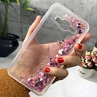 Чехол Glitter для Samsung Galaxy J7 Neo / J701F Бампер Жидкий блеск сердце розовый