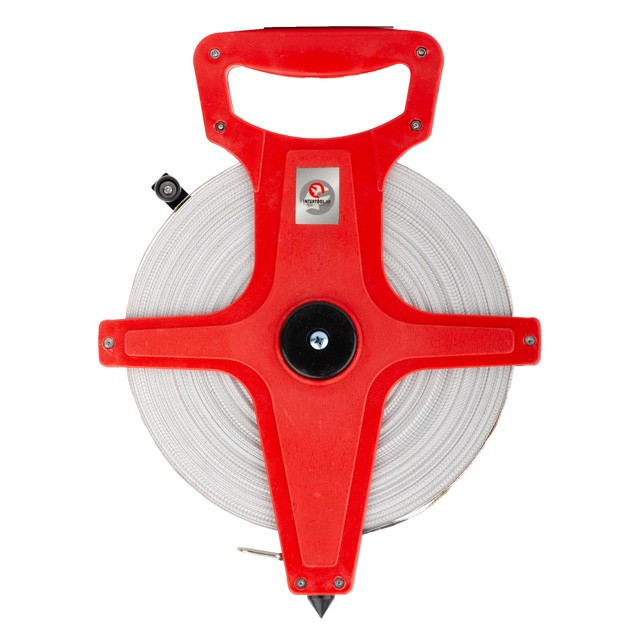 Рулетка геодезическая с полотном из стекловолокна 100 м*13 мм INTERTOOL MT-0760